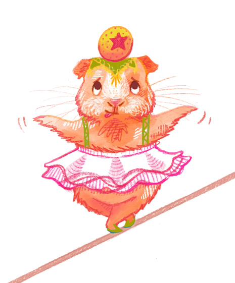 Unlikely Circus GuineaPig Tightrope Illustration