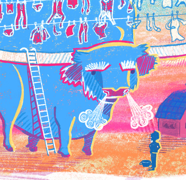Babe the Big Blue Ox Illustration Detail Crop