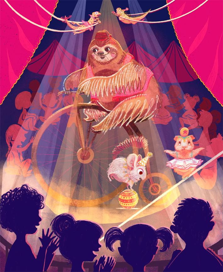 Unlikely Circus Scene Illustration