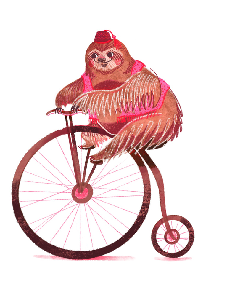 Unlikely Circus Sloth on a Penny Farthing Illustration