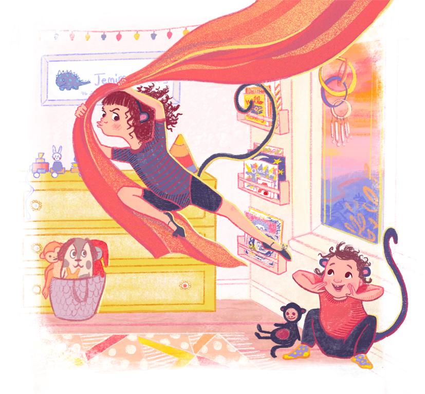 Monkey Dressing Up Box Scene Illustration