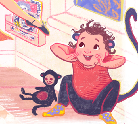 Monkey Dress Up Box Scene Illustration Detail Crop