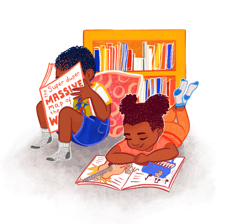 Reading Kids Illustration