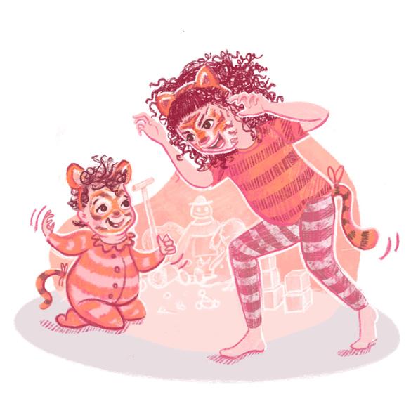 Lion Dress Up Box Scene Illustration