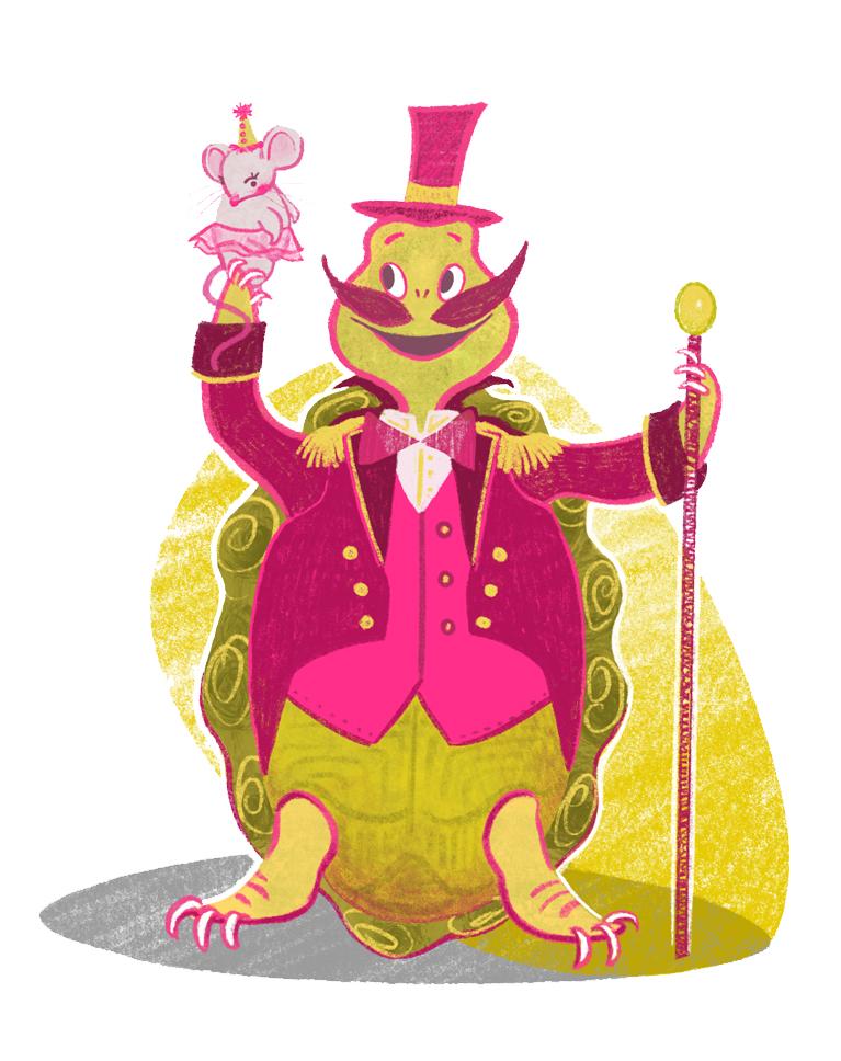 Unlikely Circus Tortoise Ringmaster Illustration