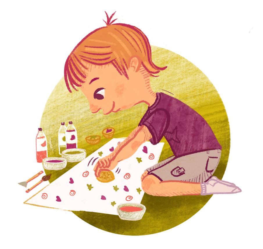 Illustration of boy doing potato printing craft