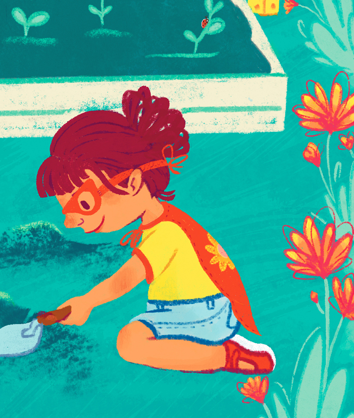 Integrity Illustration Detail - Girl Digging