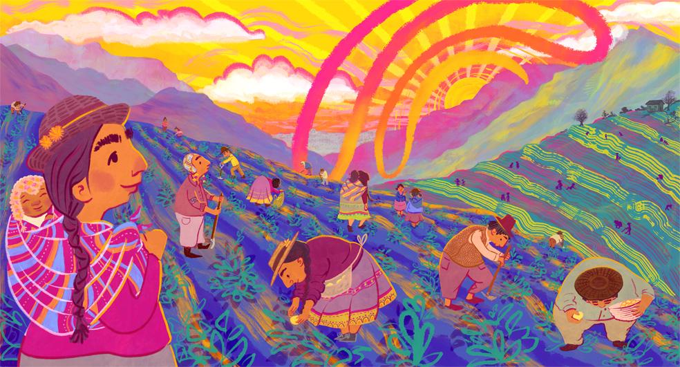 Peruvian Potato Farmer Illustration